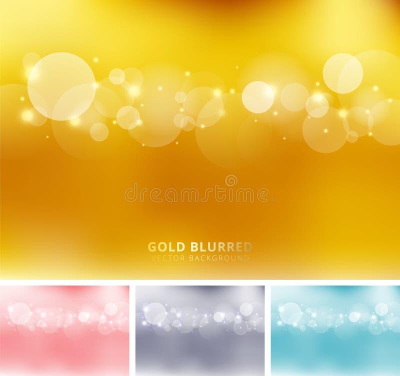 De reeks van abstracte gouden, roze, grijze, blauwe kleur vertroebelde achtergrond met cirkels bokeh en fonkeling De ruimte van h royalty-vrije illustratie