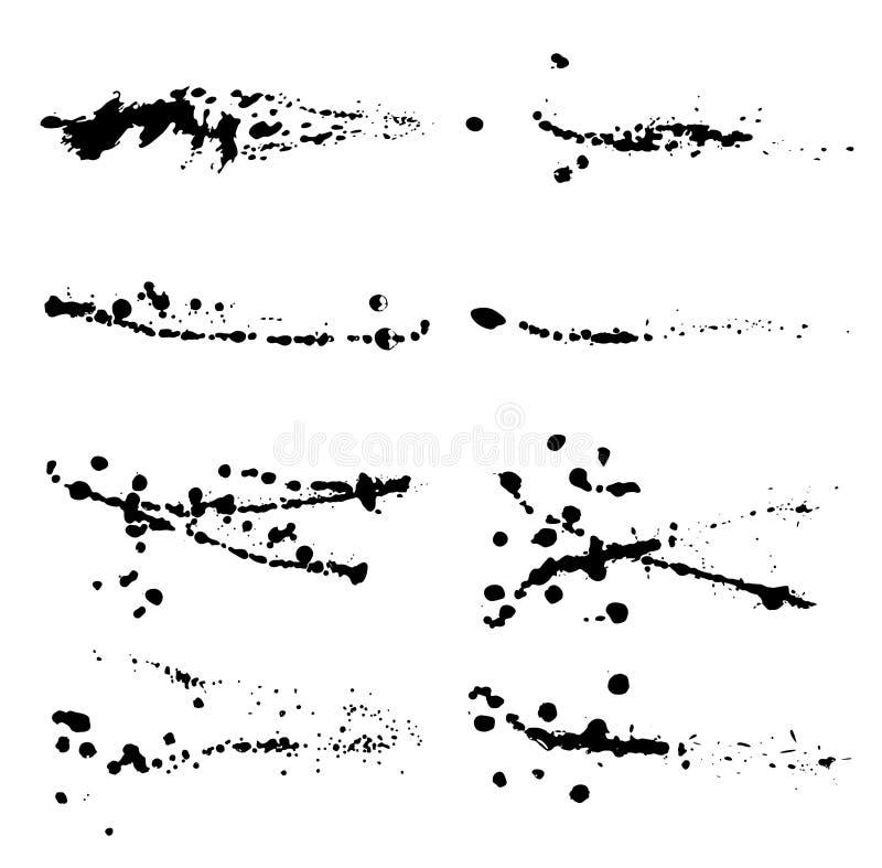 De reeks van abstracte inkt ploetert royalty-vrije illustratie