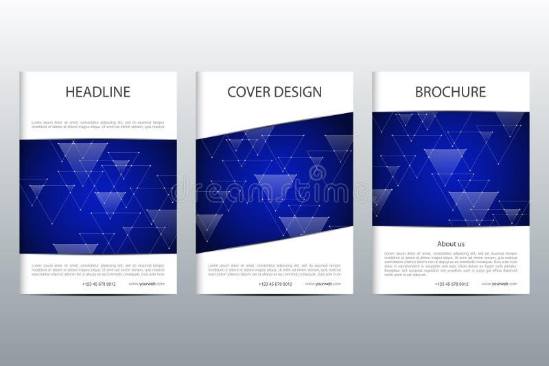 De reeks van abstracte vector behandelt malplaatje Het ontwerp van de brochurelay-out, driehoeken en veelhoekige achtergrond Line stock illustratie