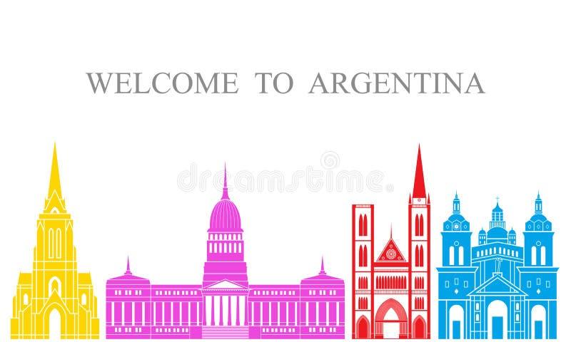 De reeks van Argentinië De geïsoleerde architectuur van Argentinië op witte achtergrond stock illustratie