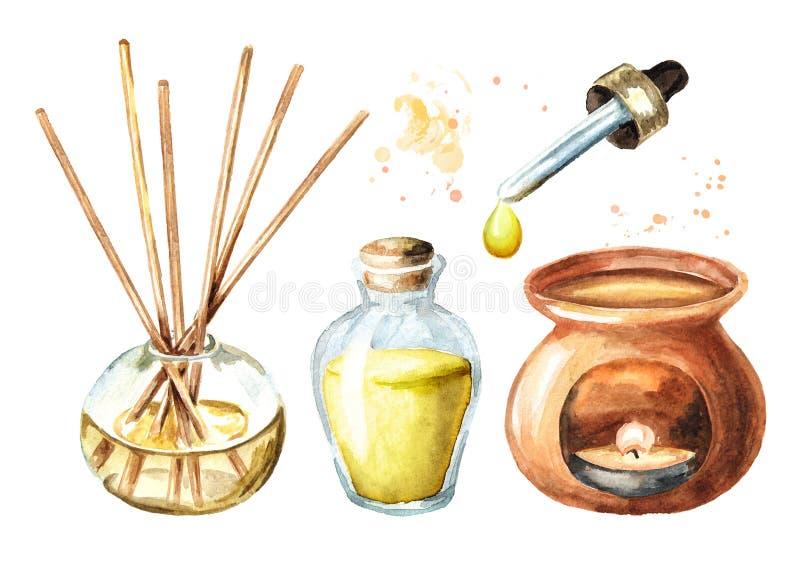 De reeks van Aromatherapy Verfrissing, stokken, fles etherische olie, aromalamp, pipet met een daling Waterverfhand getrokken ill royalty-vrije illustratie