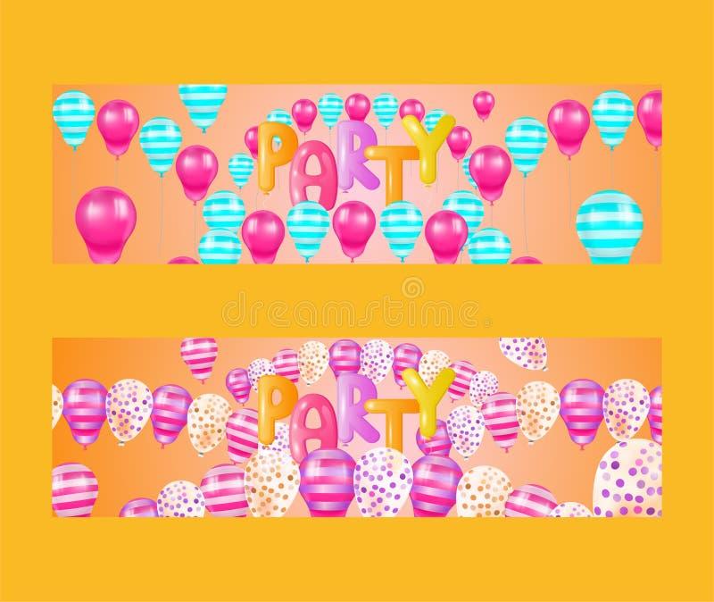 De reeks van de ballondoopvont van banners vectorillustratie Viering en partijachtergrond met kleurrijke vliegende ballons Partij vector illustratie