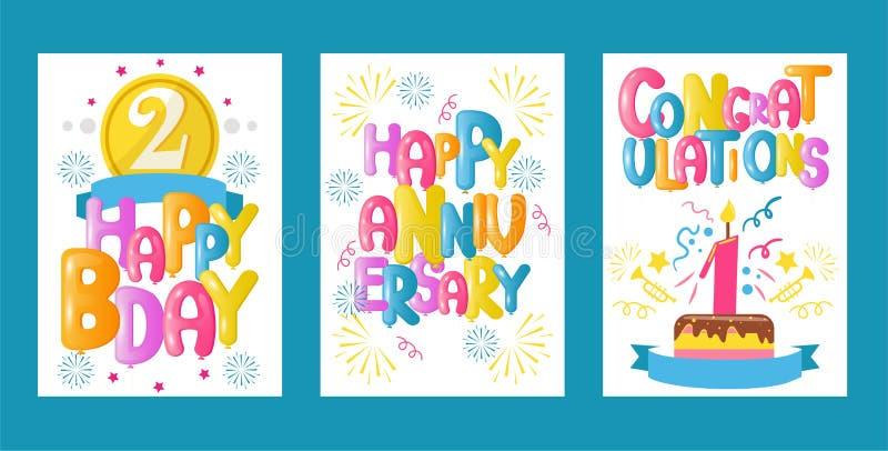 De reeks van de ballondoopvont van de vectorillustratie van groetkaarten Viering en partijachtergrond met kleurrijke vliegende ba royalty-vrije illustratie