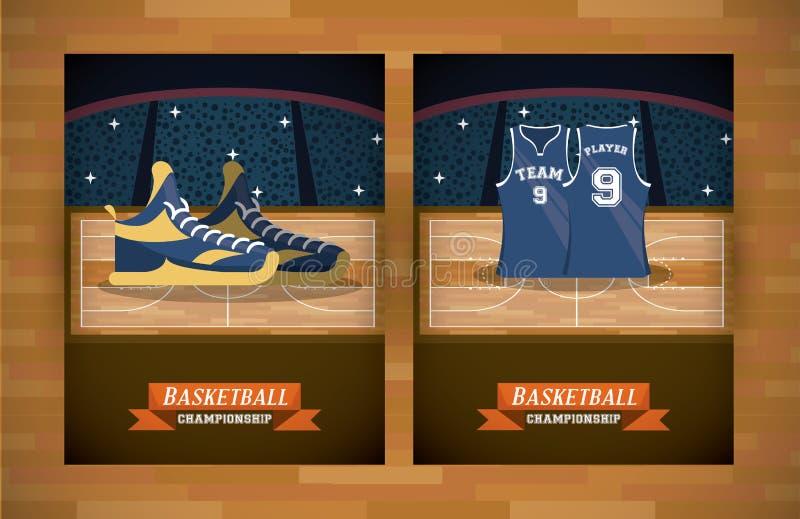 De reeks van de basketbalsport kaarten royalty-vrije illustratie