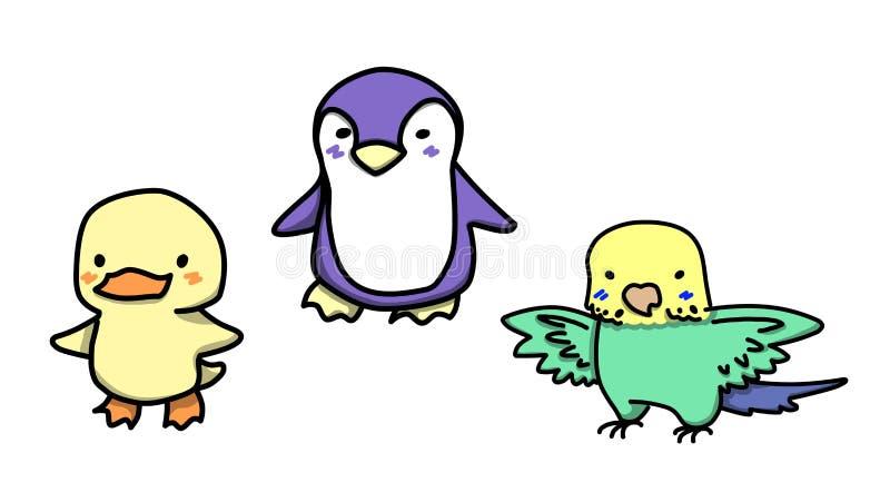 De reeks van beeldverhaal stileerde leuke vogels Eend pinguïn budgie stock afbeeldingen