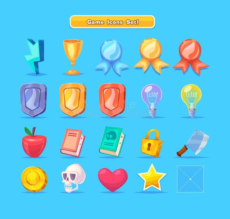 De reeks van beeldverhaalspel van middelen voorziet pictogrammen voor toevallige spelen Grafisch gebruikersinterface vector illustratie