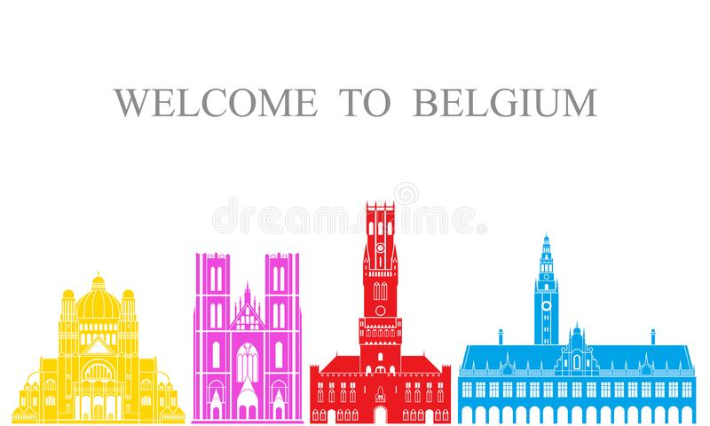 De reeks van België De geïsoleerde architectuur van België op witte achtergrond royalty-vrije illustratie