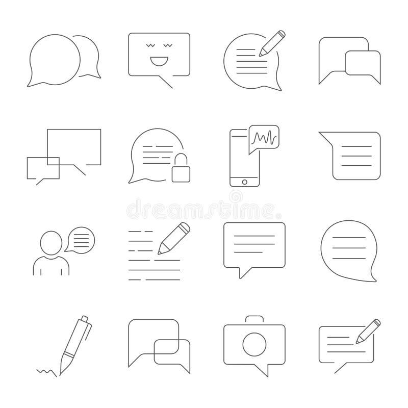 De reeks van Bericht bracht Vectorlijnpictogrammen met elkaar in verband SMS, praatje, bericht, toespraak stock illustratie