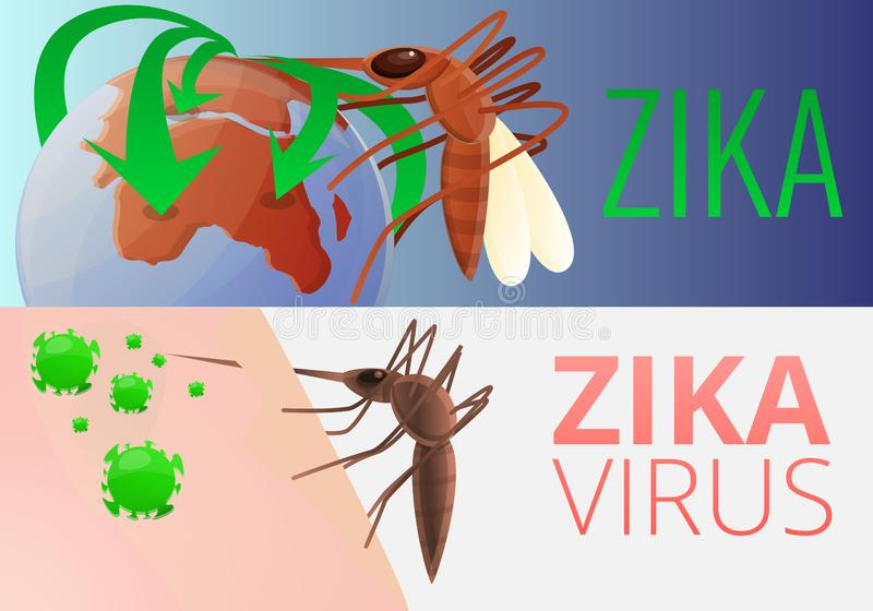 De reeks van de de besmettingsbanner van het Zikavirus, beeldverhaalstijl royalty-vrije illustratie