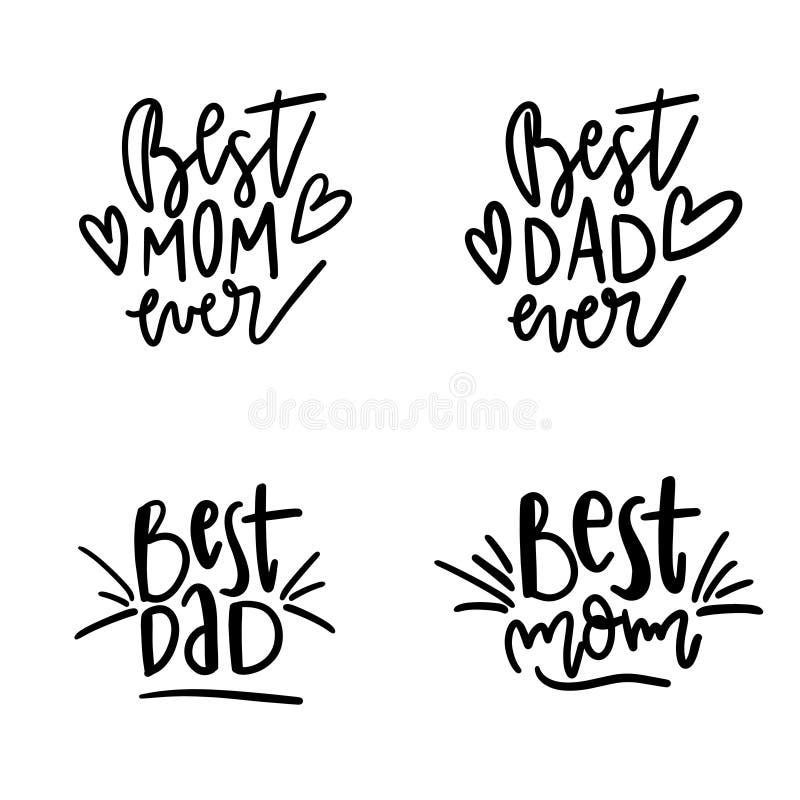 De reeks van Beste Mamma citeert ooit Citaat die Beste Mamma voor het ontwerp van de groetkaart zeggen Gelukkig Moederdagtypograf stock illustratie