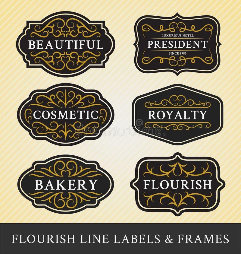 De reeks van bloeit van kalligrafiekaders en etiketten ontwerp stock illustratie