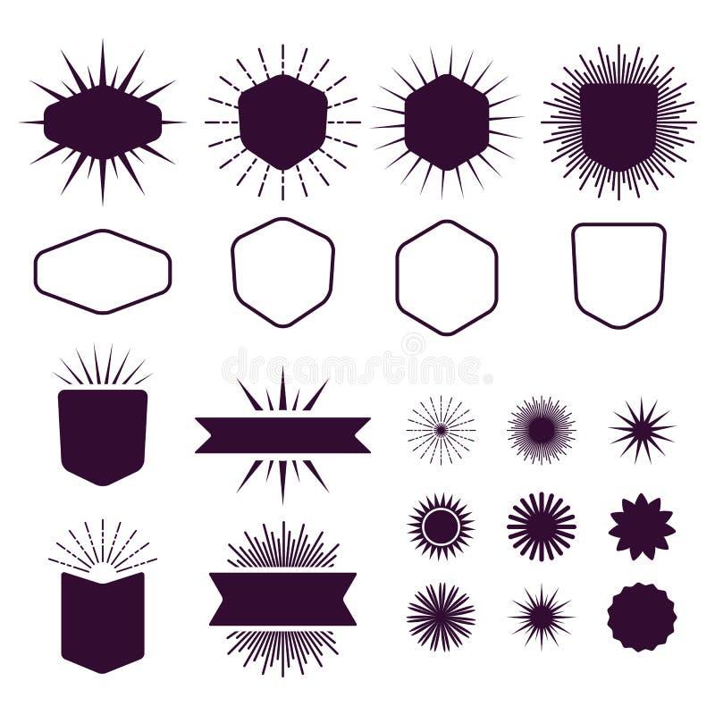 De reeks van Bourgondië elementen van het lege en silhouetontwerp op witte achtergrond stock illustratie