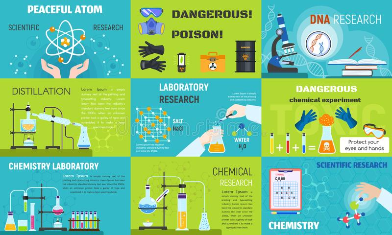 De reeks van de chemiebanner, vlakke stijl royalty-vrije illustratie
