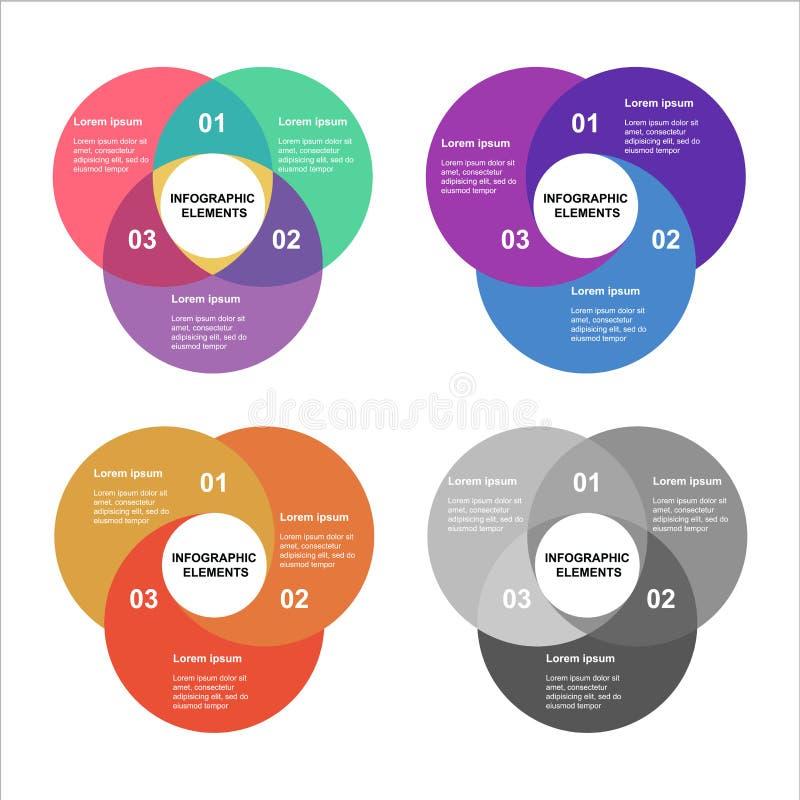 De reeks van cirkelinfographics Malplaatje voor diagram, grafiek, presentatie en grafiek Bedrijfsconcept met 4 opties, delen royalty-vrije illustratie