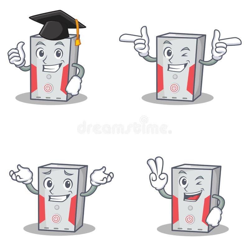 De reeks van computerkarakter met graduatie knipoogt vinger twee royalty-vrije illustratie