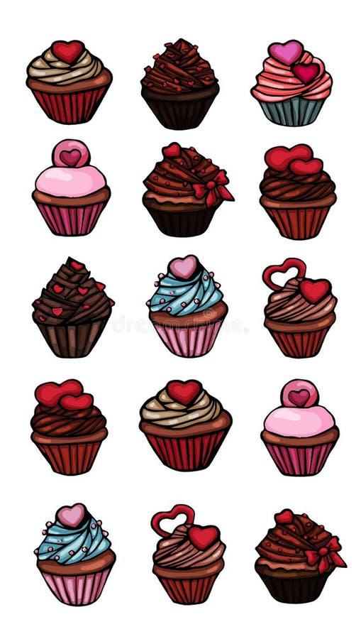 De reeks van Cupcakesstickers van verschillende heerlijk royalty-vrije illustratie