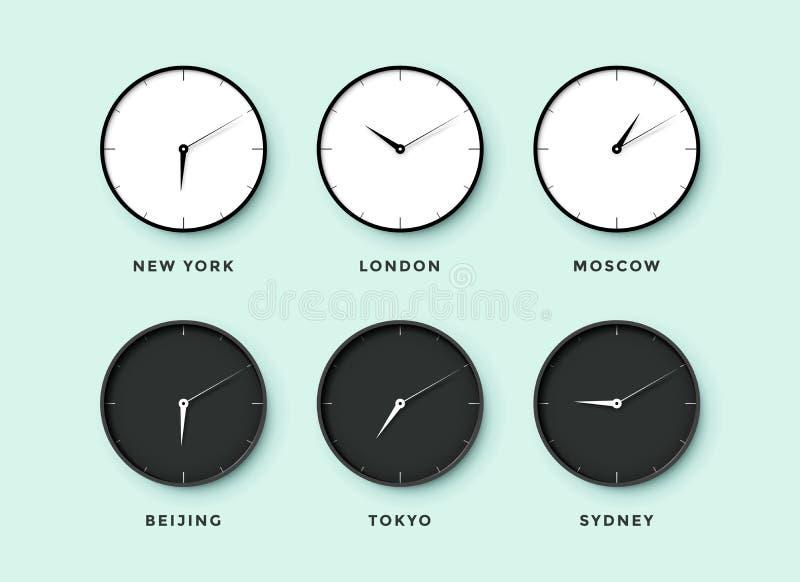 De reeks van dag en nacht klokt voor tijdzones verschillende steden vector illustratie