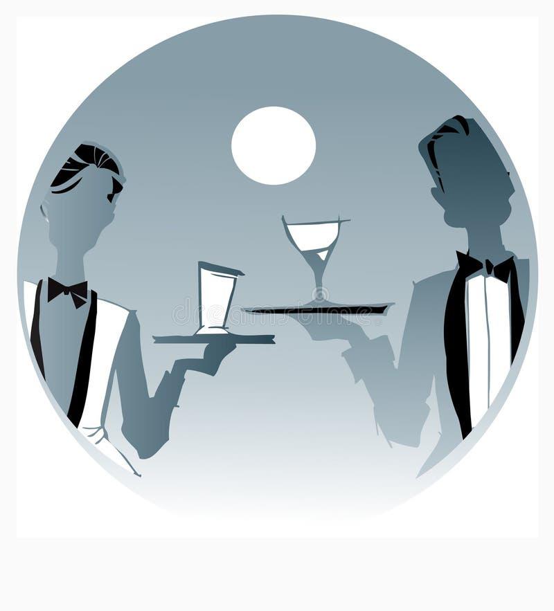 De reeks van de baan - serveersterkelner vector illustratie