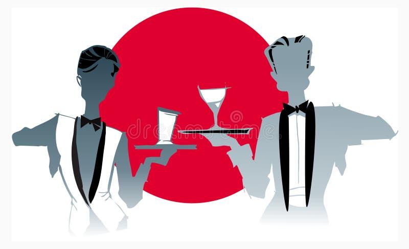 De reeks van de baan - serveersterkelner stock illustratie