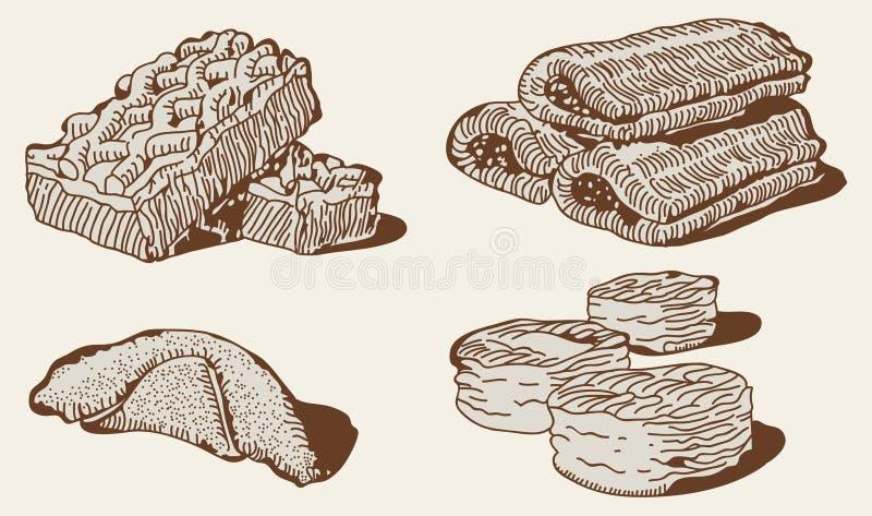 De reeks van de bakkerij royalty-vrije illustratie