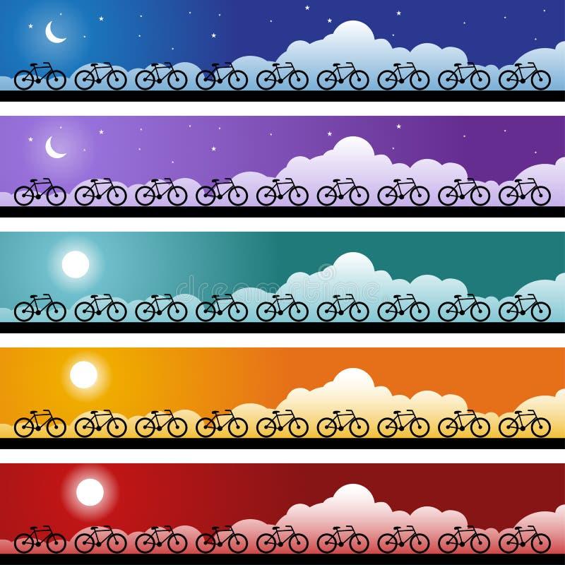 De Reeks van de Banner van de fiets royalty-vrije illustratie