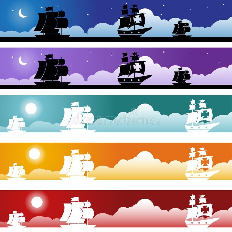 De Reeks van de Banner van de piraat vector illustratie