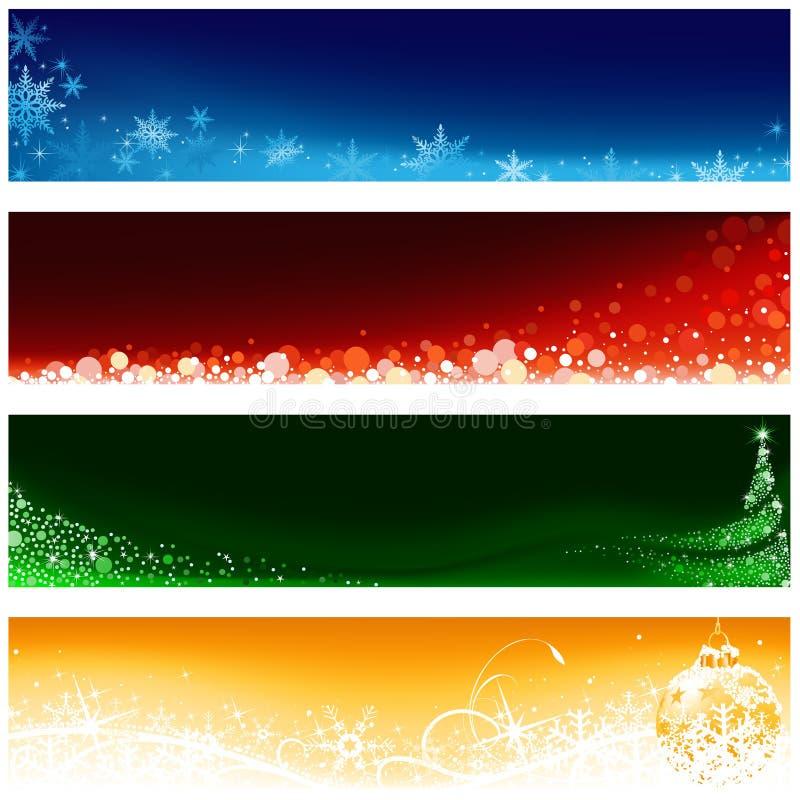 De Reeks van de Banner van Kerstmis vector illustratie