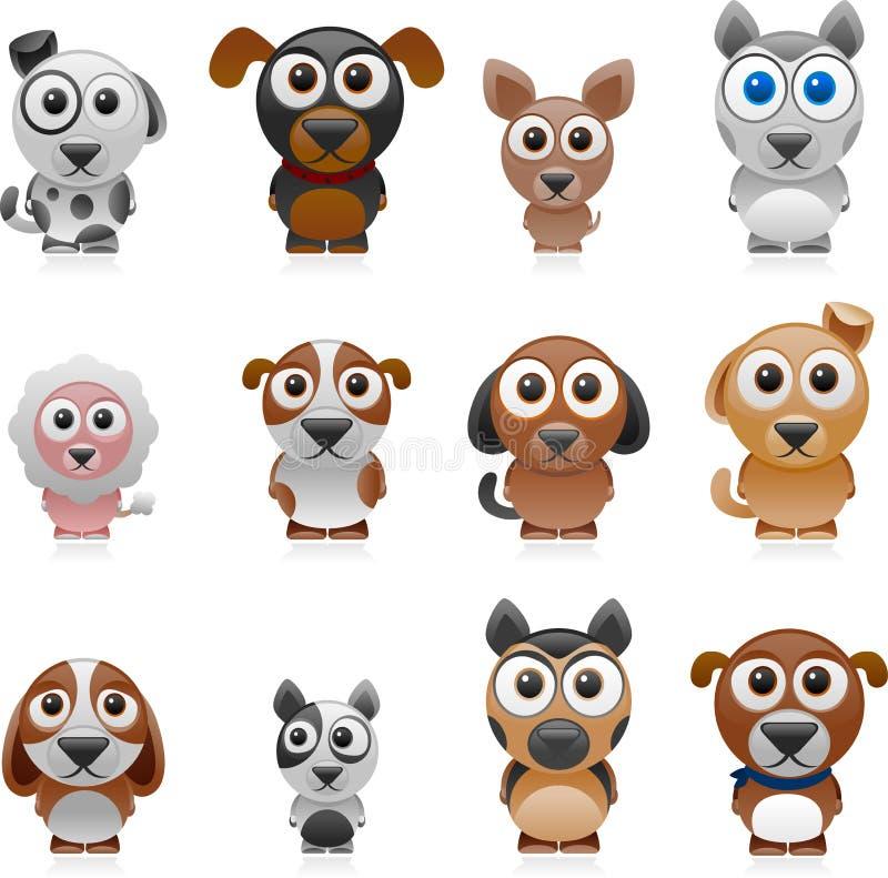 De reeks van de beeldverhaalhond royalty-vrije illustratie