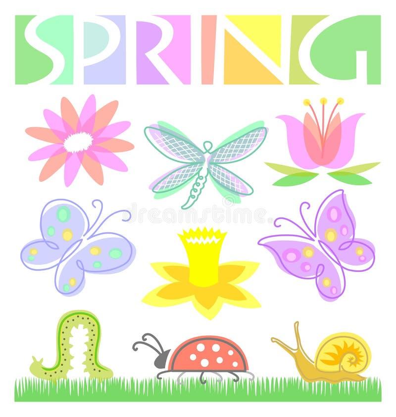 De Reeks van de Bloem en van het Insect van de lente vector illustratie