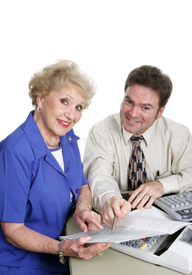 De Reeks van de boekhouding - Hogere Dame stock afbeeldingen