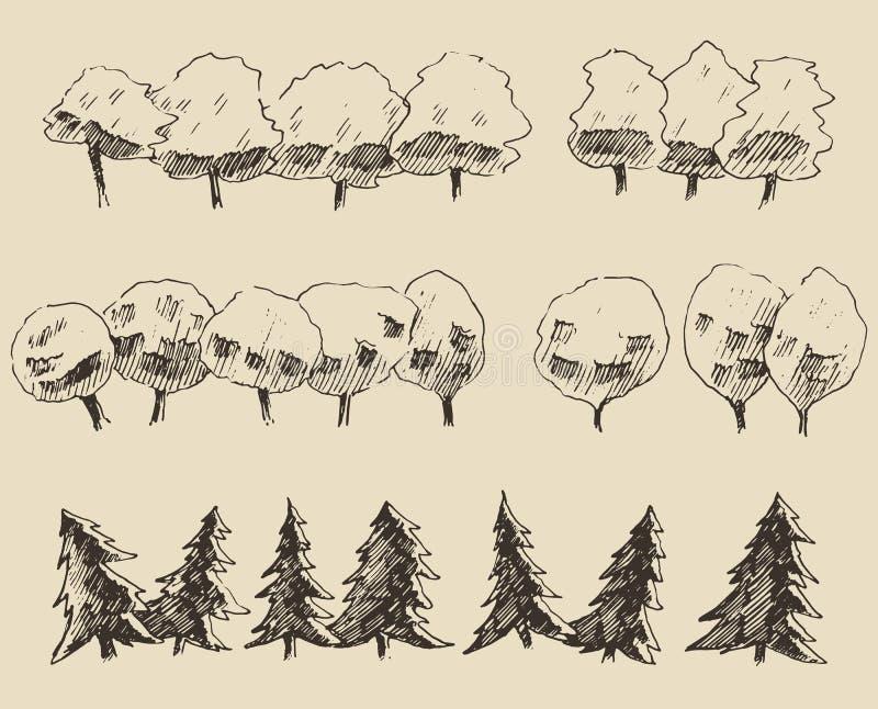 De reeks van de bomenschets, uitstekende vectorstijl, getrokken hand stock illustratie