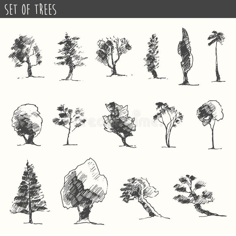 De reeks van de bomenschets, uitstekende vectorstijl, getrokken hand vector illustratie