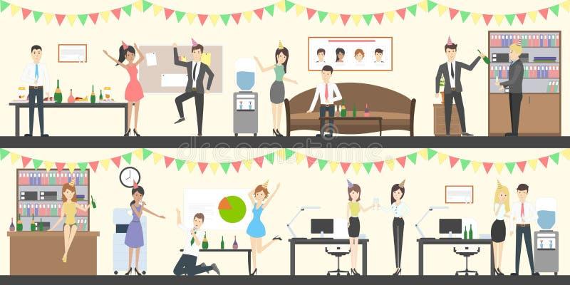 De reeks van de bureaupartij royalty-vrije illustratie