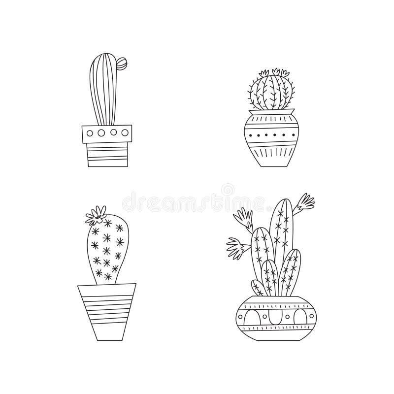 De reeks van de cactus stock illustratie
