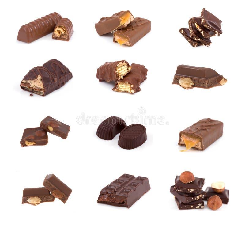 De reeks van de chocolade stock afbeeldingen