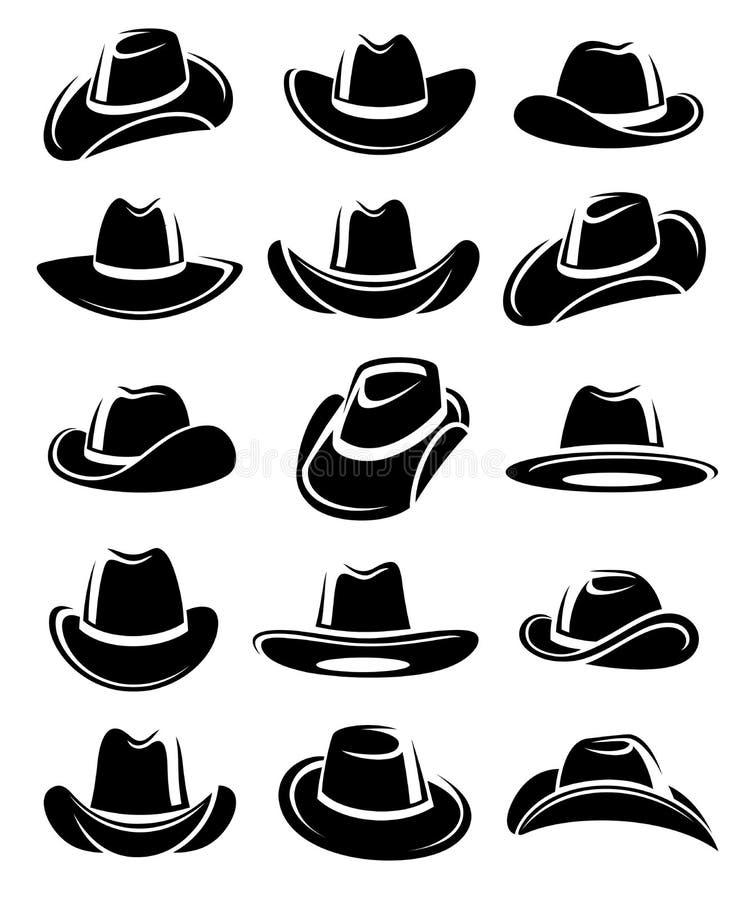 De reeks van de cowboyhoed Vector royalty-vrije illustratie