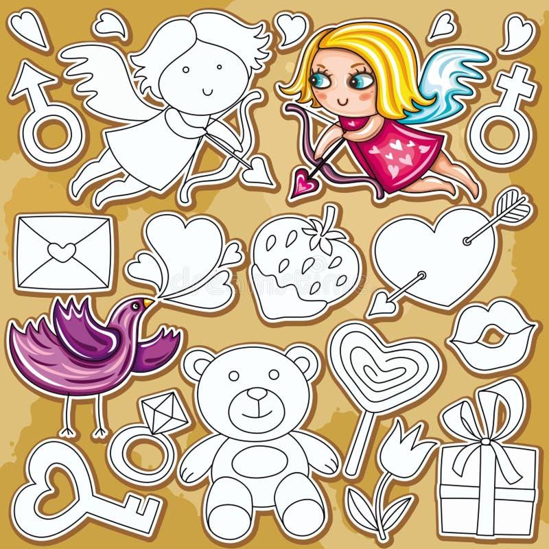 De reeks van de de dagkrabbel van de valentijnskaart royalty-vrije illustratie