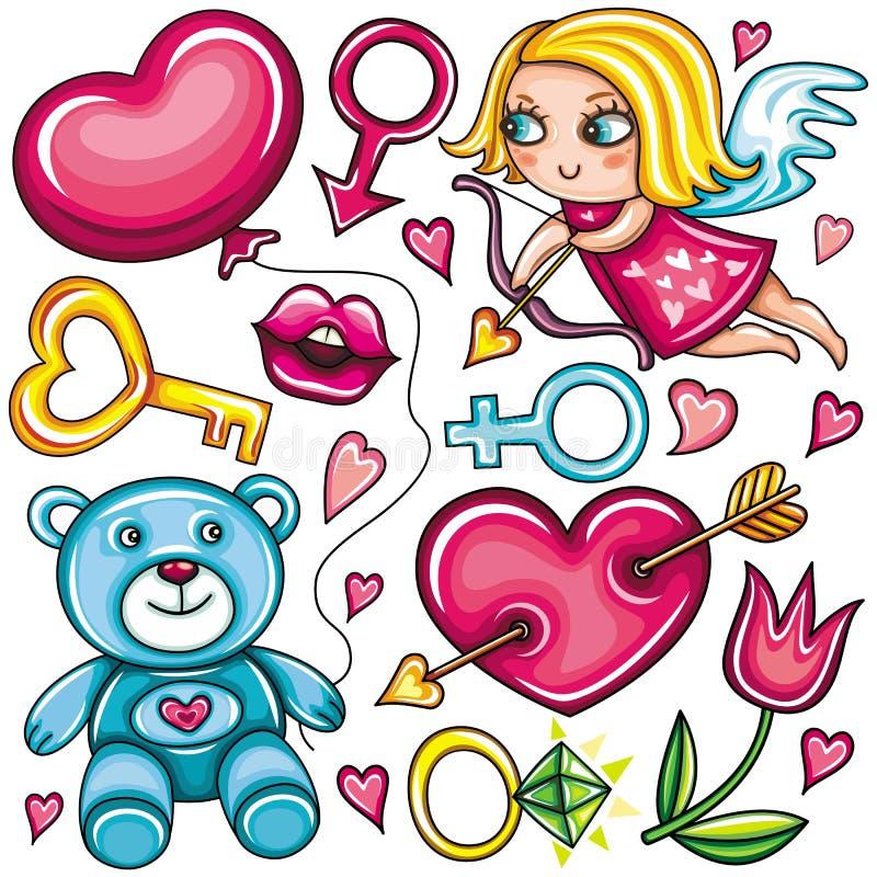 De reeks van de de dagkrabbel van de valentijnskaart stock illustratie