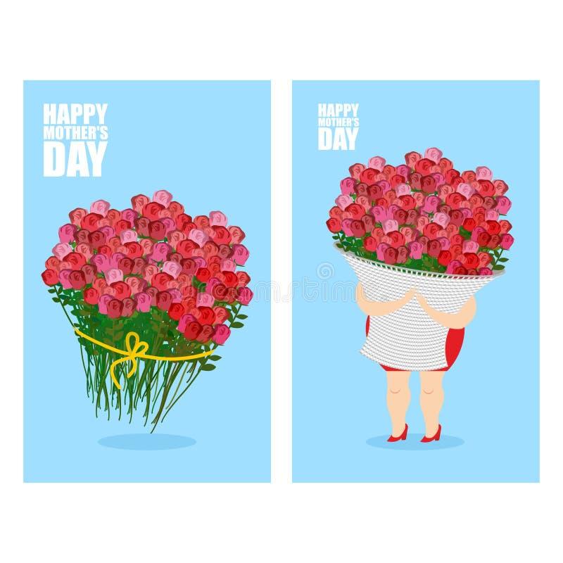 De reeks van de de groetkaart van de moedersdag stock illustratie