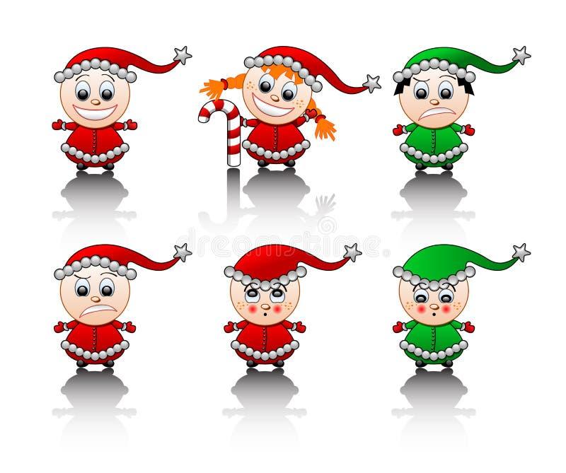 De reeks van de de helpersglimlach van de kleine Kerstman vector illustratie