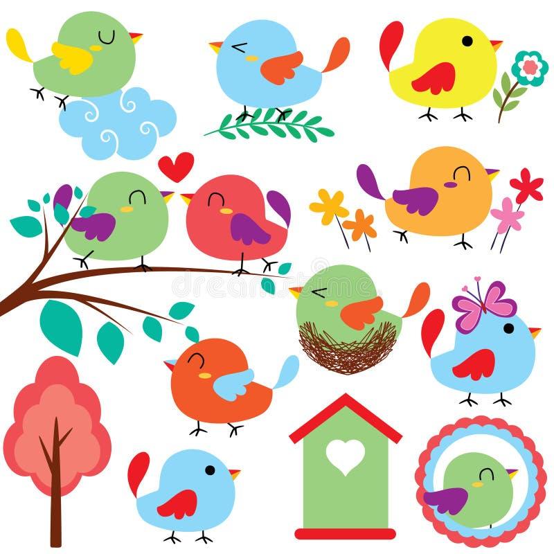 De reeks van de de klemkunst van Cutievogels vector illustratie