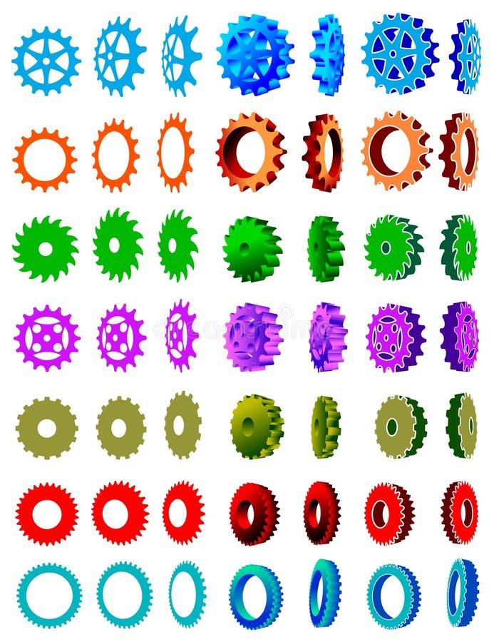 De reeks van de de klemkunst van toestelwielen vector illustratie