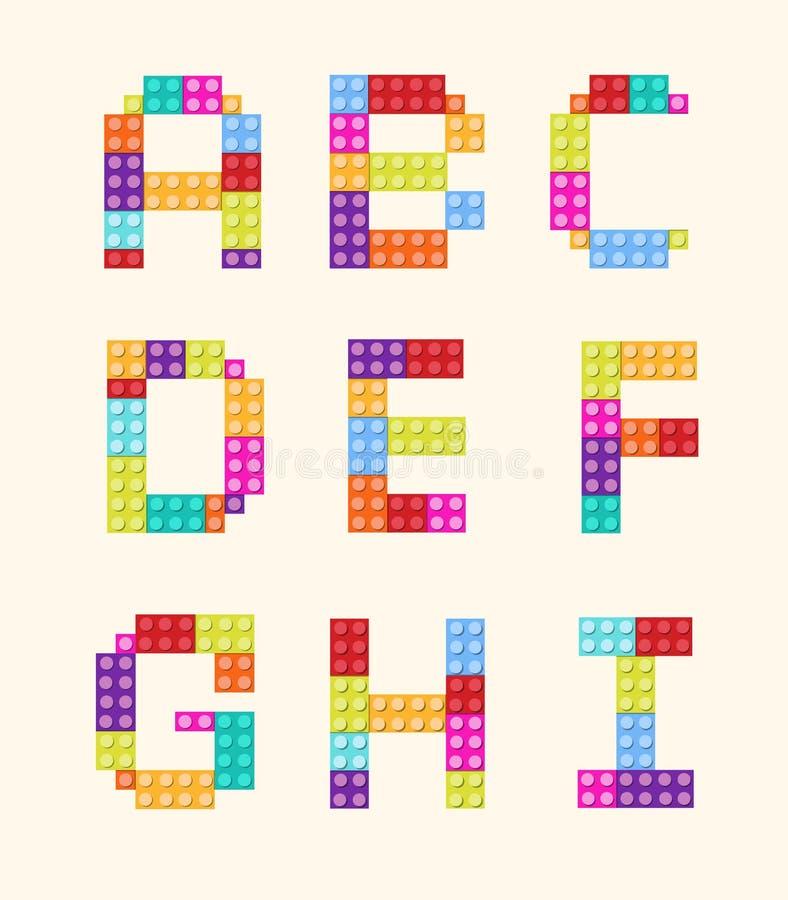 De reeks van de de kleurenstijl van alfabetblokken stock afbeelding