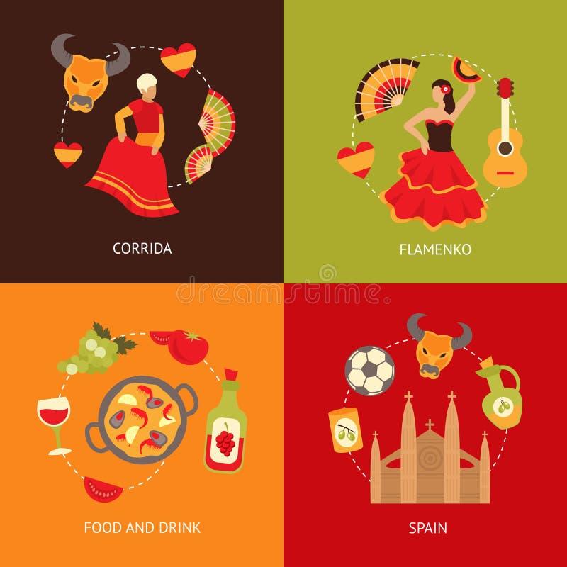 De reeks van de de pictogrammensamenstelling van Spanje royalty-vrije illustratie