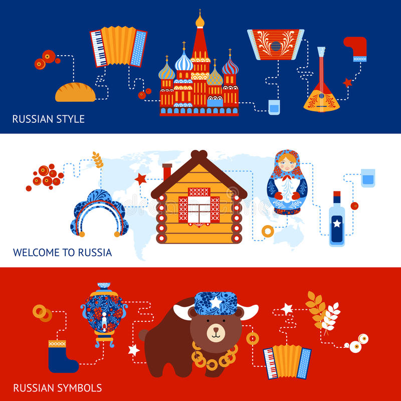De reeks van de de reisbanner van Rusland royalty-vrije illustratie