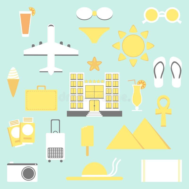 De Reeks van de de zomervakantie Vakantie geïsoleerde elementen royalty-vrije illustratie
