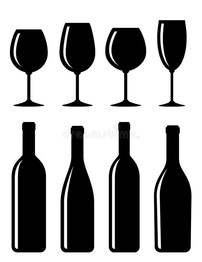 De reeks van de fles en van het glas stock illustratie