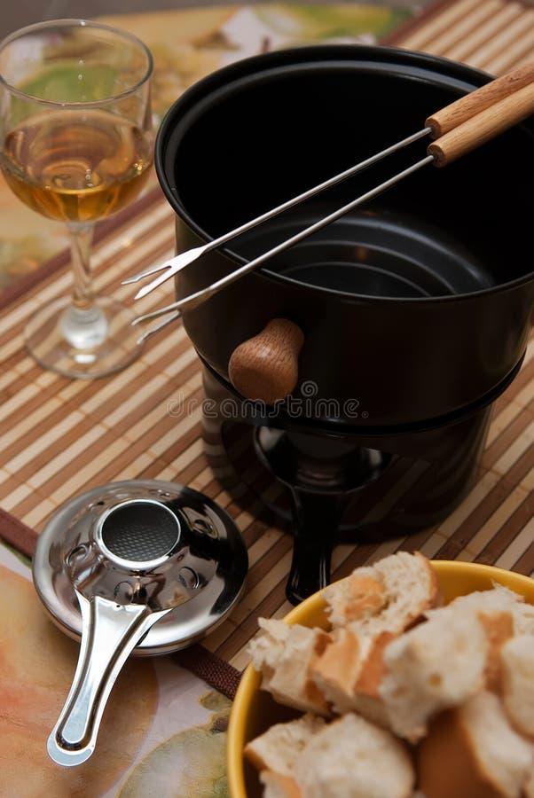 De reeks van de fondue stock afbeeldingen