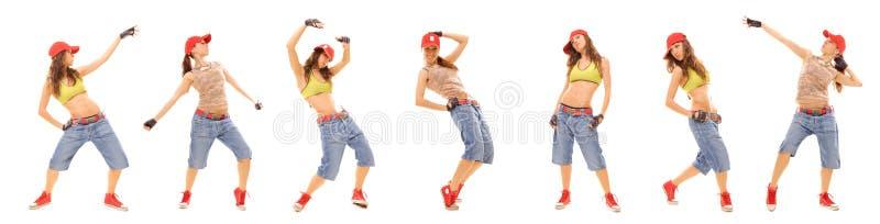 De reeks van de foto van het aantrekkelijke meisje van de heuphop royalty-vrije stock foto