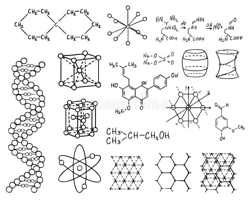 De reeks van de fysica en van de chemie royalty-vrije illustratie